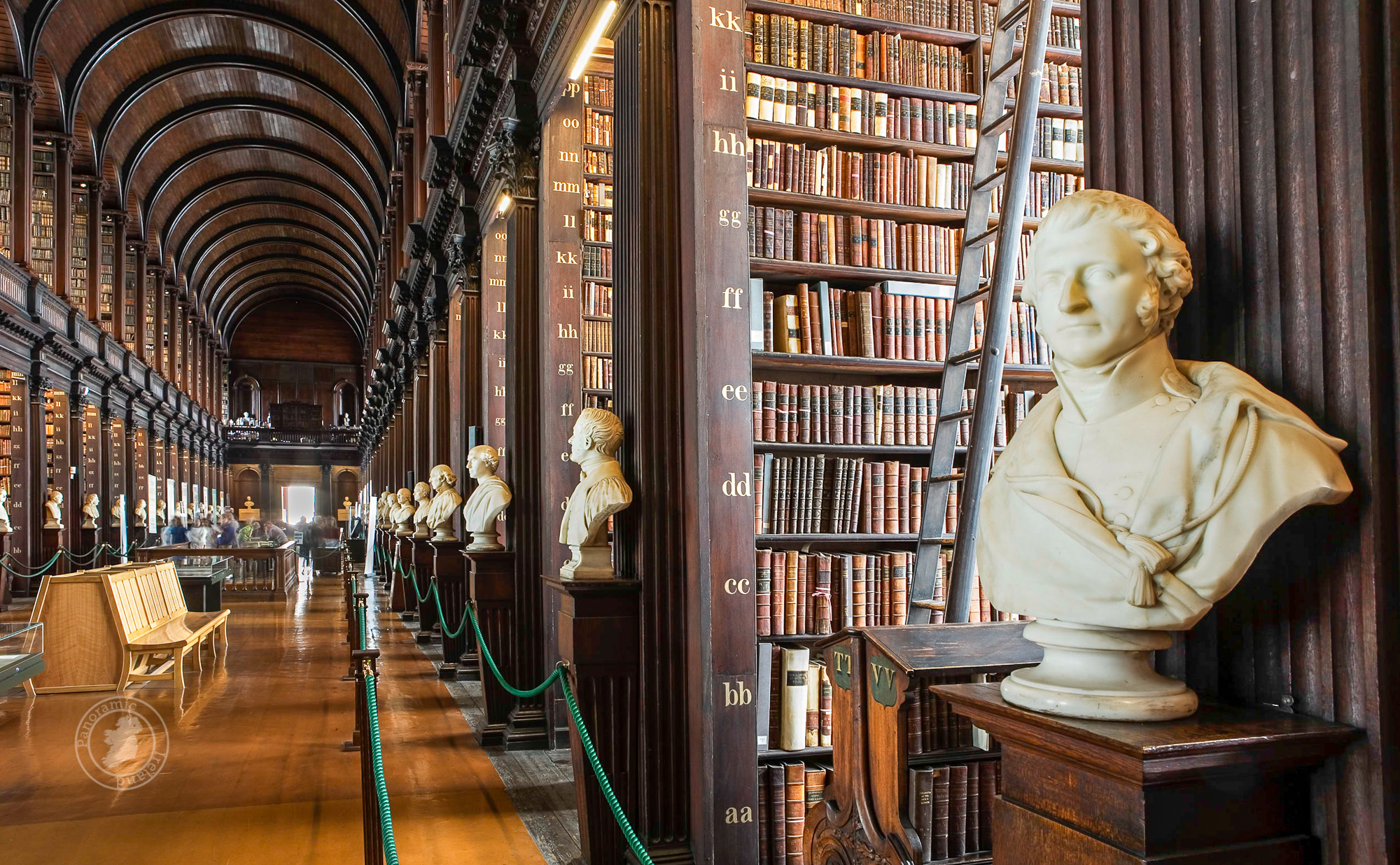 The Long Room Library in Trinity College Dublin, home to 200,000 rare books including the Book of Kells