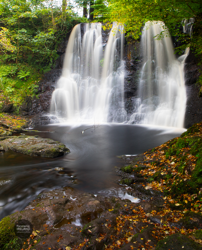 An Irish Waterfall Scene in Autumn