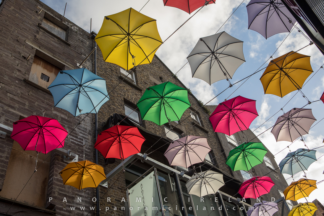 Colourful umbrellas outside Zozimus, Dublin