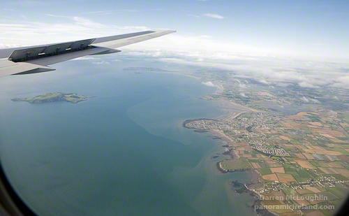 On approach into Dublin Airport, over the Irish Sea
