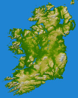 Topographical Map of Ireland