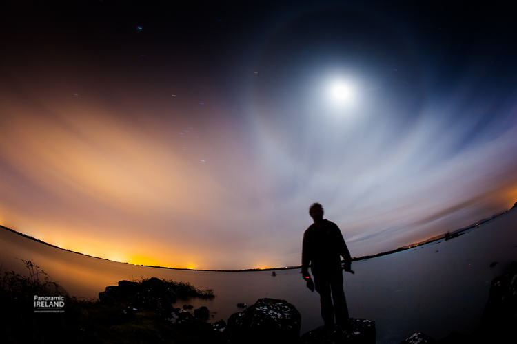 Panoramic Ireland self portrait or selfie under the stars