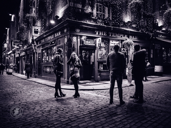 Evening in Dublin, Street Photography by Panoramic Ireland in Black and White