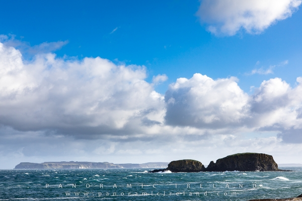 The stunning Antrim Coast with Sheep Island and Rathlin Island in Northern Ireland