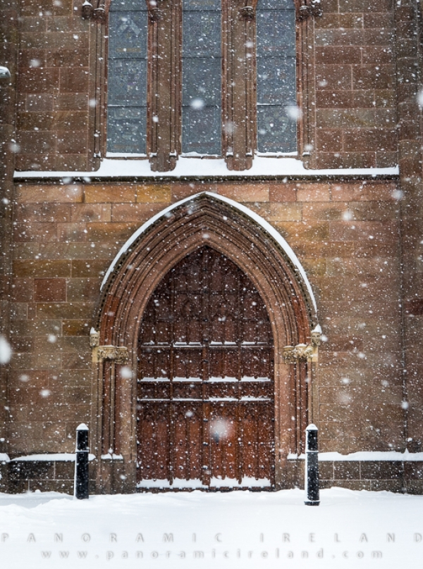 Door of Saint Patrick's Cathedral (CofI) Armagh in snow, March 2018