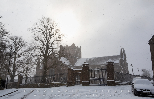 Armagh's Church of Ireland Saint Patrick's Cathedral in snow, March 2018
