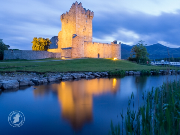 Ross Castle, Killarney at night with reflections