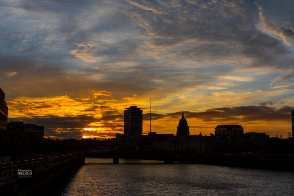 Sunset Silhouette on Dublin's River Liffey