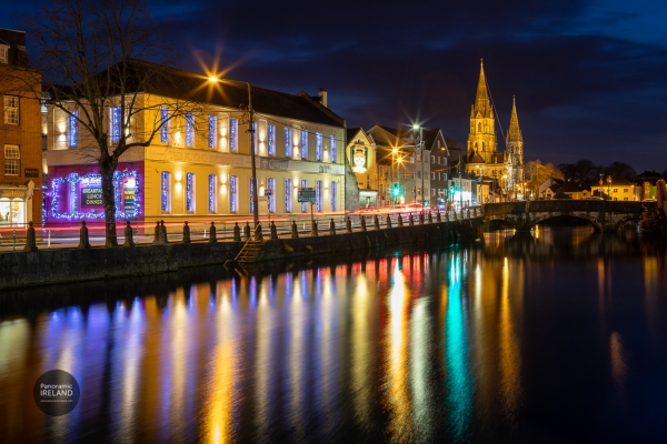 Saint Finbarre's and River Lee, Cork at night
