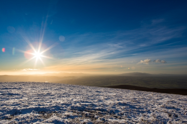 Snow and ice on top of Slievenamon, County Tipperary January 2018, Ireland