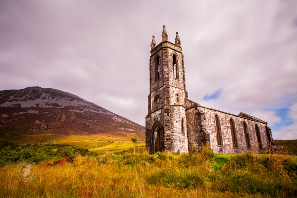Scenic ruins of Dunlewey Church, County Donegal