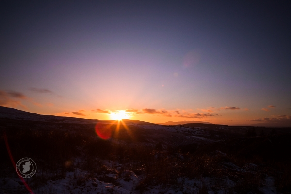 Beautiful sunset in Ireland's Mountains, Snowy Landscape