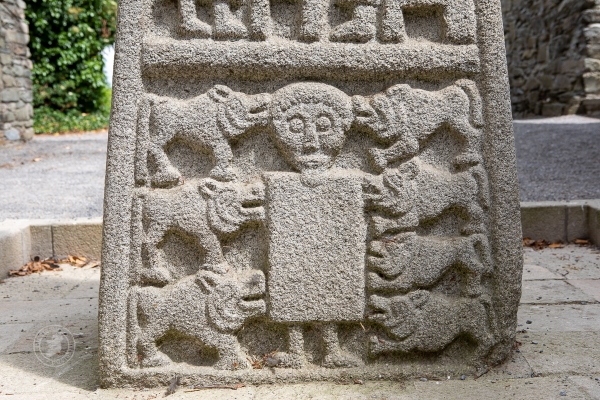 Detail from panel on Moone High Cross, Ireland - Daniel in the Lion's Den
