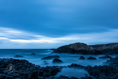 Blue hour, after sunset at the Giant's Causeway - UNESCO World Heritage Site in Northern Ireland